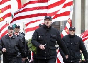 """Mitglieder der faschistischen """"Ungartischen Garden"""" bei einem Aufmarsch im Februar 2008"""